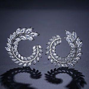 Swirl Clear Crystal Hoop Drop Dangle Pin Earrings